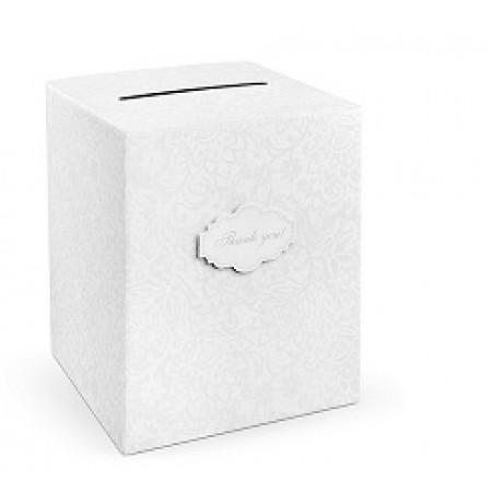urne de mariage blanche à motifs gris thank you