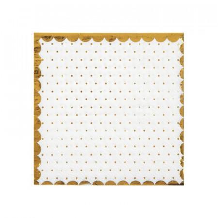 Serviette blanche liseré et pois dorés