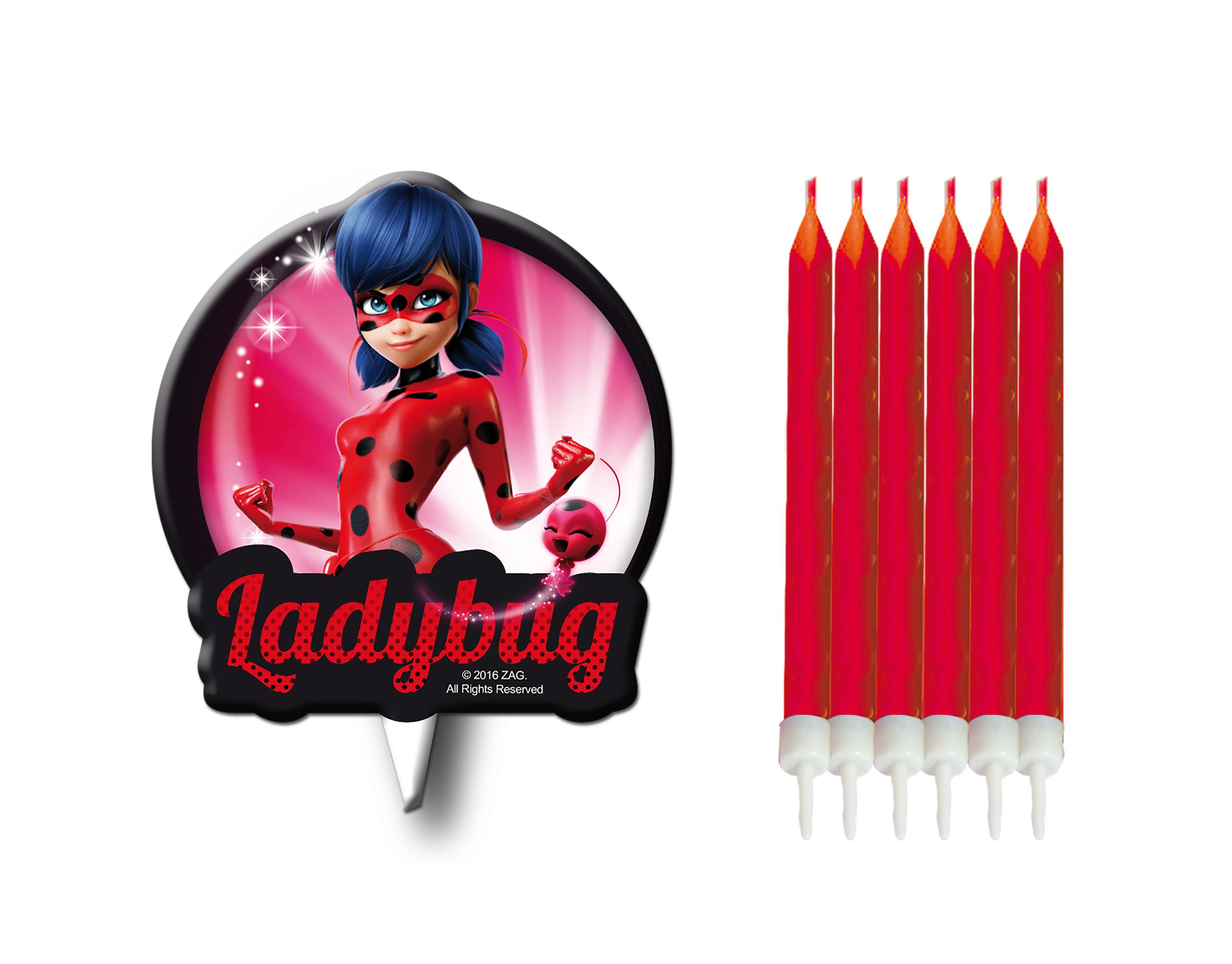6 bougies + médaillon Ladybug Miraculous