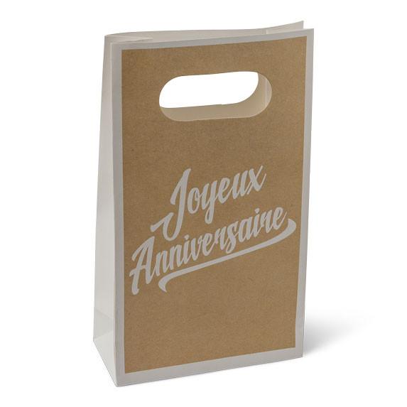 6 pochettes cadeau kraft joyeux anniversaire. Black Bedroom Furniture Sets. Home Design Ideas
