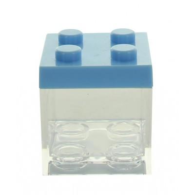 3 contenants à dragées lego bleus