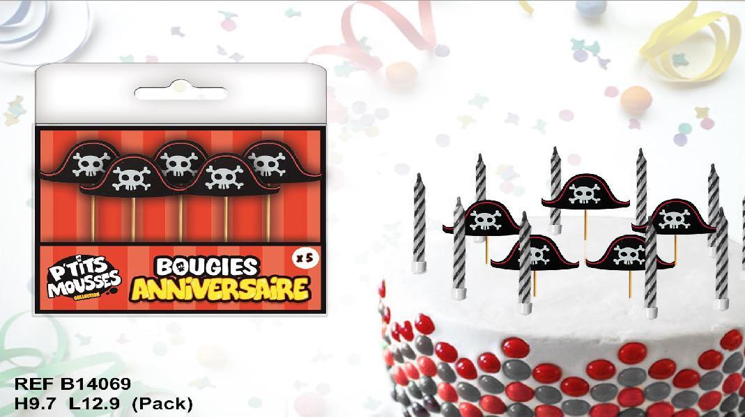 5 bougies chapeau de pirate
