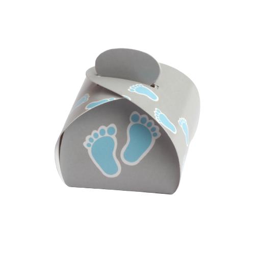 10 pochons baptême pieds bleus