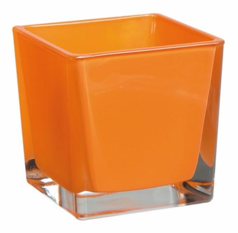 Vase cube orange – 10 cm