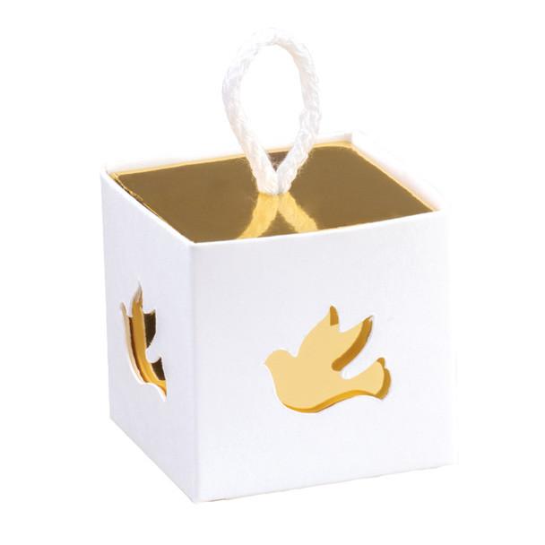 10 Boîtes à dragées communion or et blanc