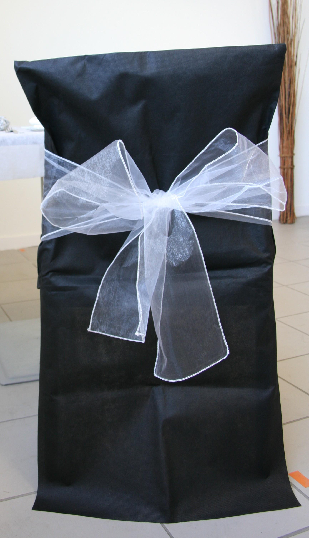 Noeuds en organza pour housses de chaises blanc x10 - Housse de chaise blanc ...