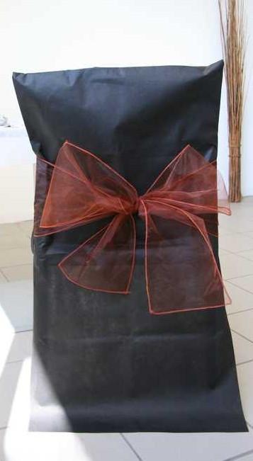 Noeuds en organza pour housses de chaises - chocolat - x10