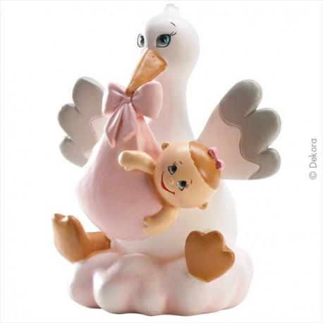 Sujet de baptême fille - cigogne sur nuage rose avec bébé