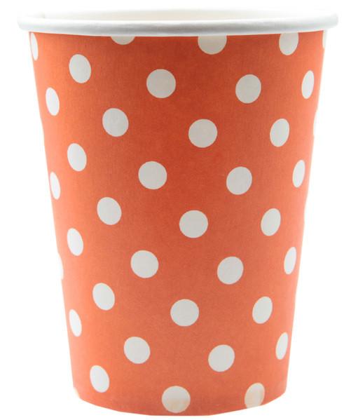 10 gobelets motif pois - orange