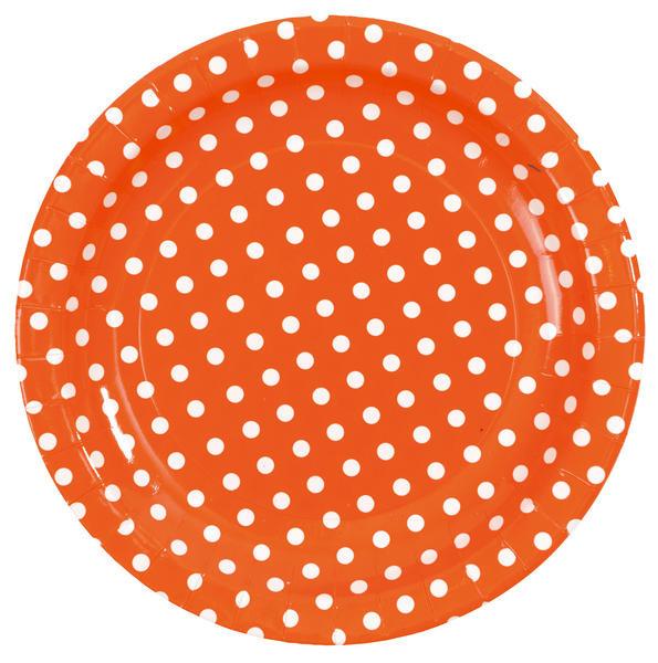 10 assiettes pois orange