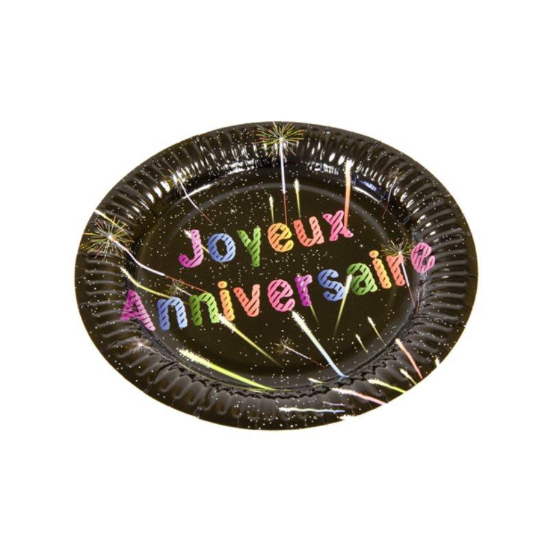 6 assiettes Joyeux Anniversaire - noir - 18 cm