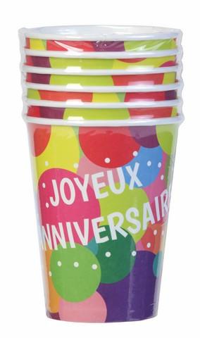 gobelets ballons joyeux anniversaire