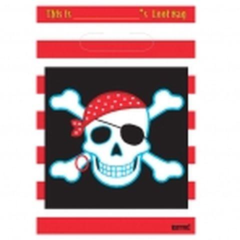 Sacs de fête motif tête de mort - Pirates - x8