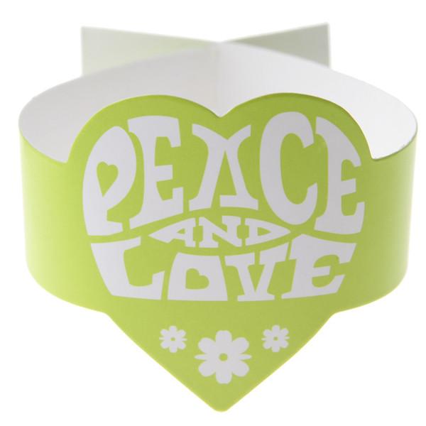 Ronds de serviettes Peace and Love - vert anis - x6