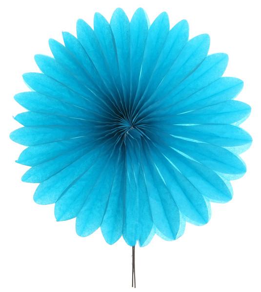 2 éventails en papier turquoise - 20 cm