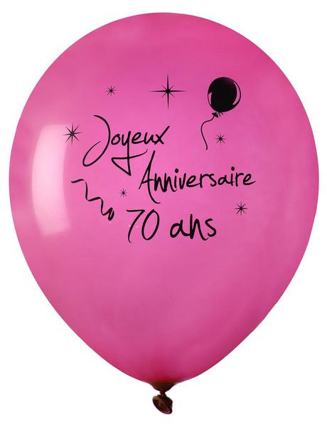 8 ballons joyeux anniversaire 70 ans rose for Deco annee 70 pour anniversaire