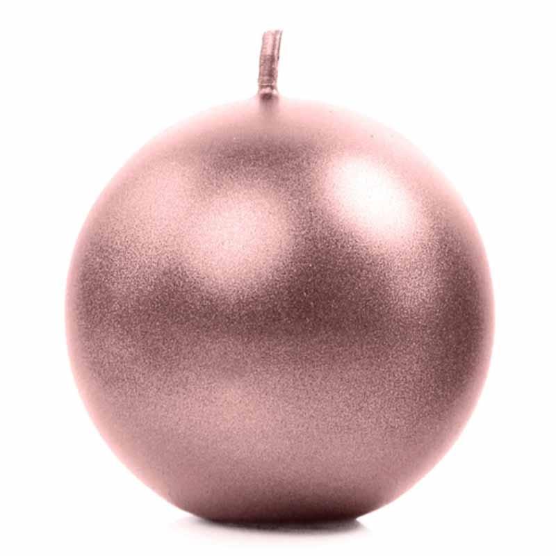 Bougie-ronde-rose-gold-métallisé