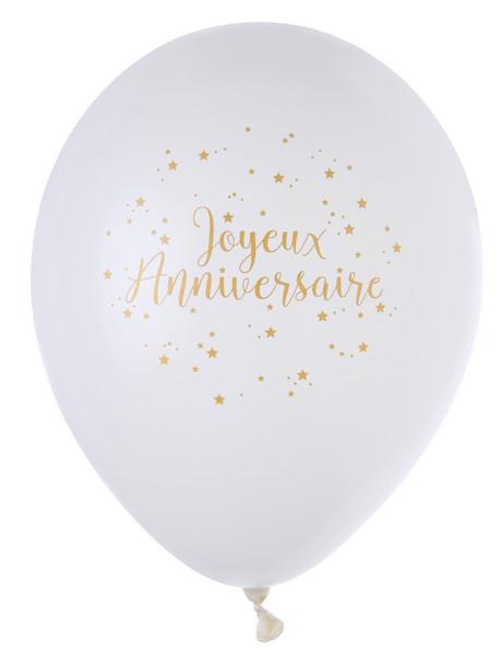 Ballon Joyeux Anniversaire blanc et or x8