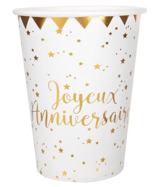 Gobelet Joyeux Anniversaire blanc et or carton 27 cl (x10)