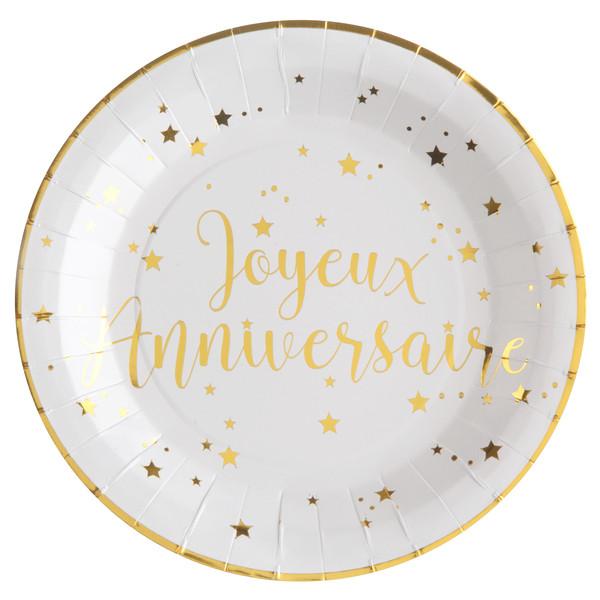Assiette Joyeux Anniversaire blanc et or carton 22.50 cm (x10)