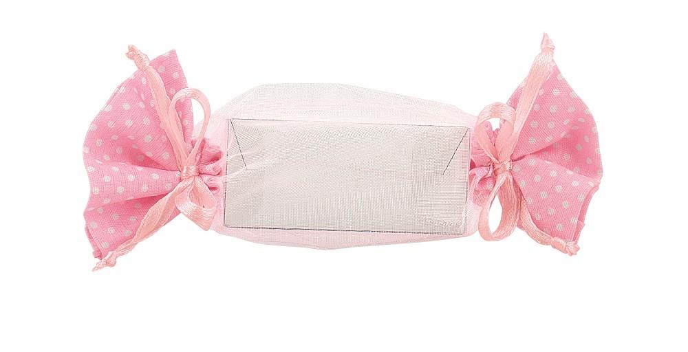 12 Boîtes à dragées bonbon rose et blanc