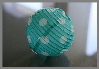 5 lampions turquoises à pois - 7.8 cm