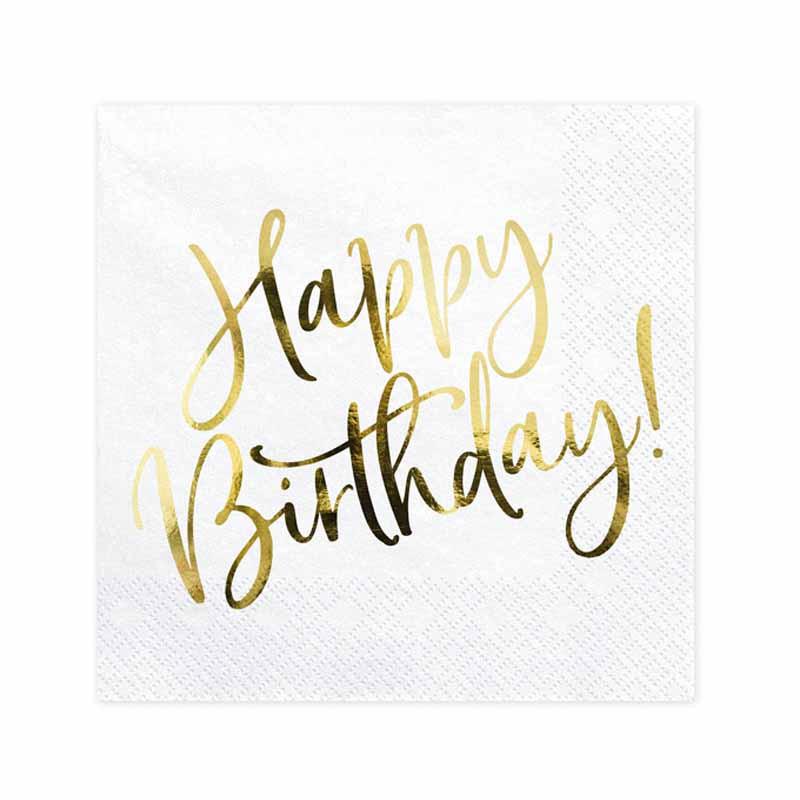 x20 Serviettes Happy Birthday Anniversaire OR