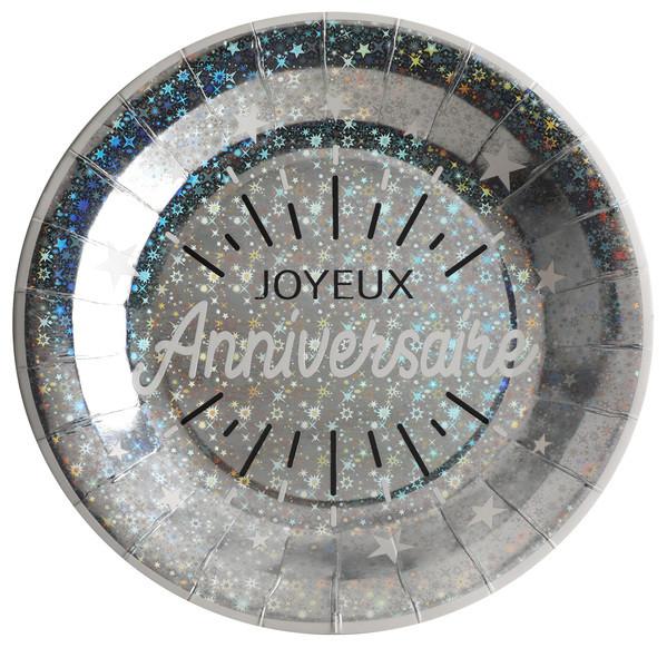 Assiette Joyeux Anniversaire argent carton 22.50 cm (x10)