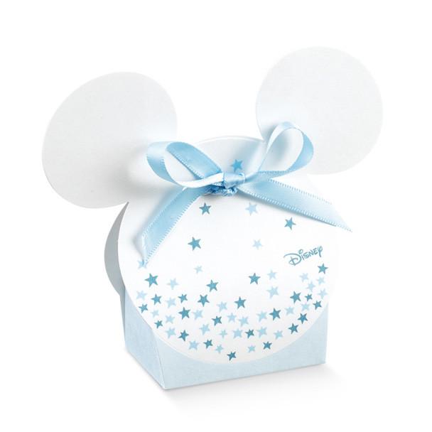 10 boites à dragées tête mickey blanc et bleu