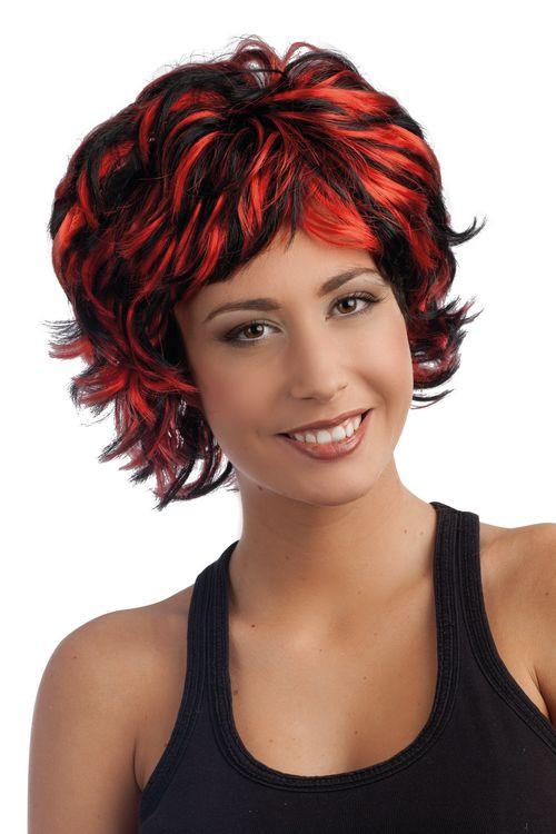 perruque femme cheveux courts rouge et noir. Black Bedroom Furniture Sets. Home Design Ideas