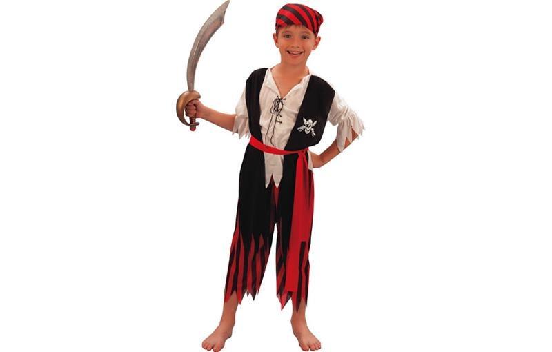 d guisement gar on pirate ray rouge et noir 10 12 ans. Black Bedroom Furniture Sets. Home Design Ideas