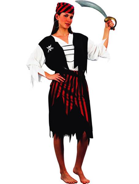Déguisement femme pirate rayé rouge et noir - Taille L