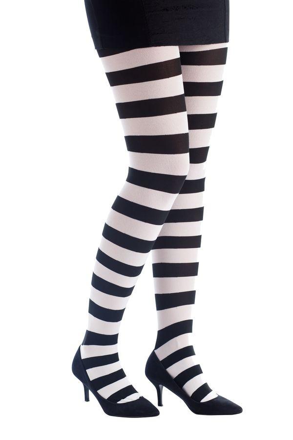 Collant opaque - rayé noir et blanc e5d31d7bb69