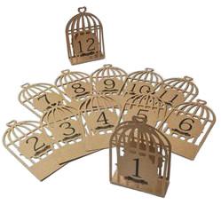12 marque-tables kraft cage oiseau