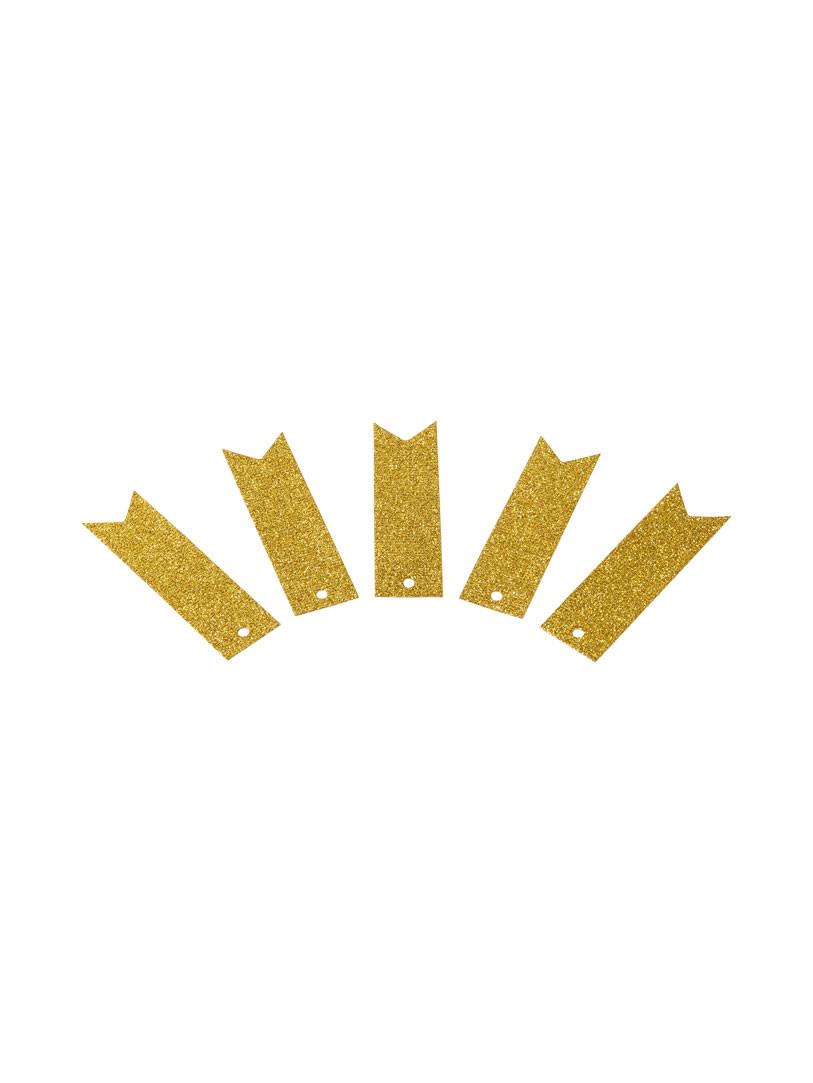 Fanions perforés pailletés or
