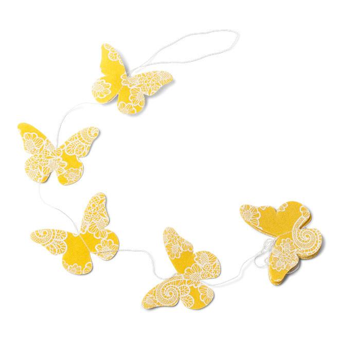 Guirlande papillons jaune - 1.20m