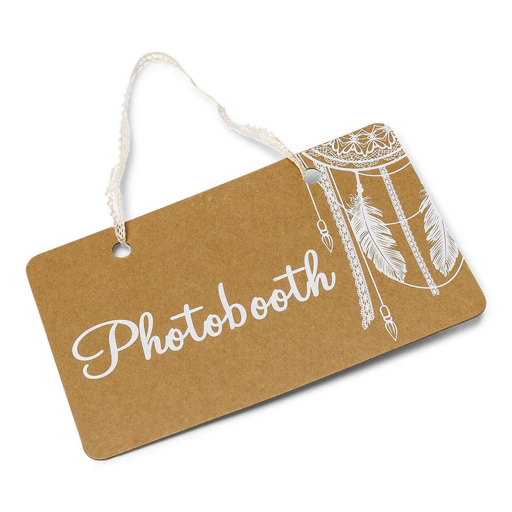 Pancarte bois photobooth kraft lien dentelle