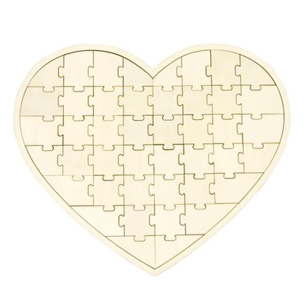 Livre d'or coeur puzzle bois