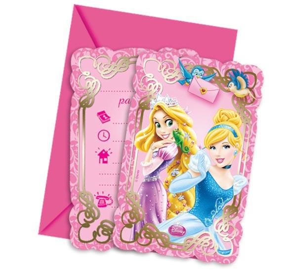 6 cartes d'invitation – Princesses Disney