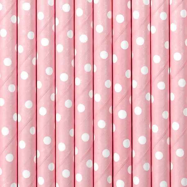 10 x pailles papier rose à pois blanc