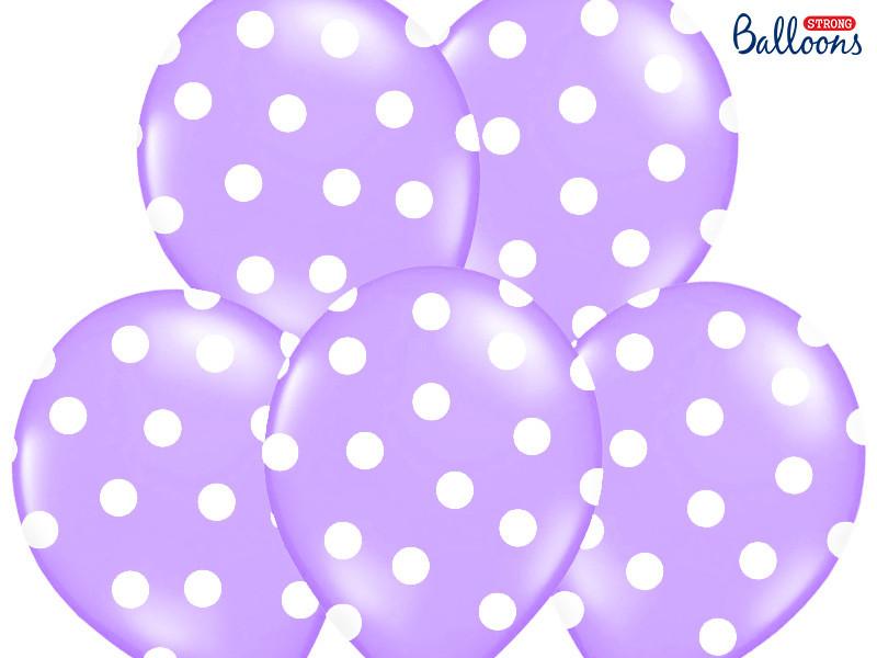 Ballon de baudruche lilas avec pois blanc
