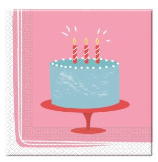 20 serviettes anniversaire birthday cake