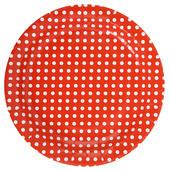 assiette rouge avec pois blanc