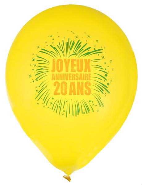 Ballons Joyeux Anniversaire 20 Ans En Latex Jaune Déco
