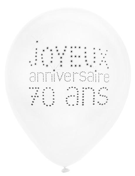 Lot de 8 ballons blancs Joyeux Anniversaire 70 ans
