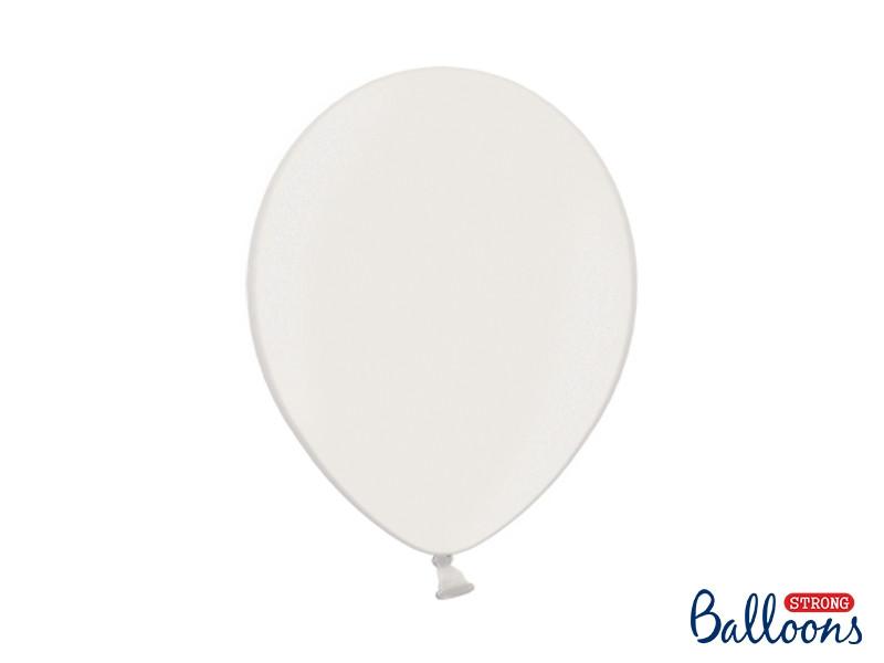 10 ballons 27 cm – blanc métallisé