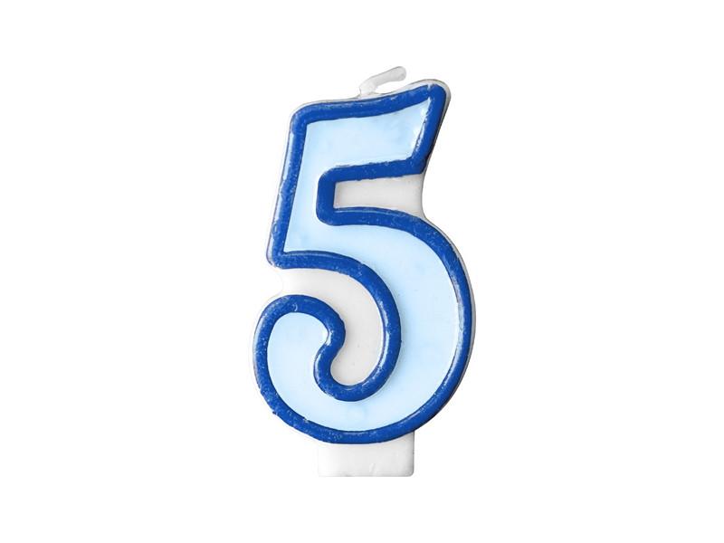 Bougie d'anniversaire chiffre 5 bleu