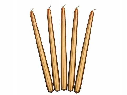 10 bougies flambeau or métalisées