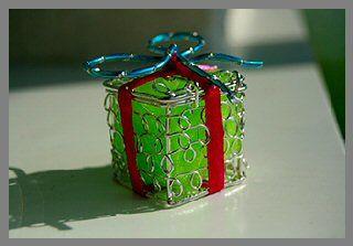 Boîte à dragées carrée en métal - argent