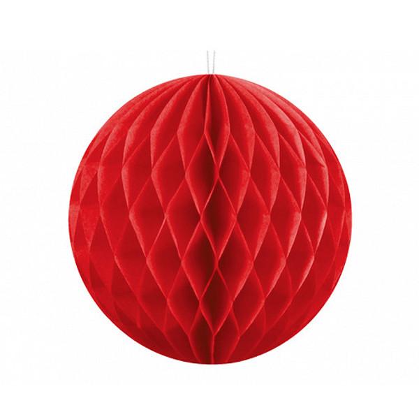 Boule chinoise alvéolée rouge - 10 cm